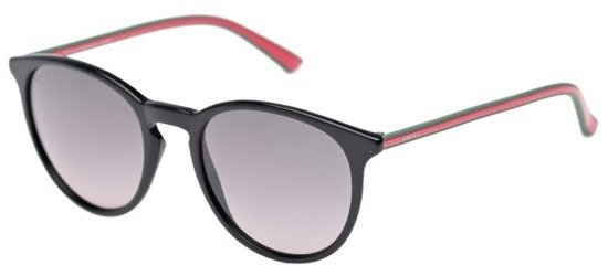 GUCCI GG1102/S MJ9EU Shiny Black Green Red Stripe/ Grey Gradient Lens