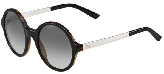 GUCCI GG3770/S GYDVK Shiny Black And Havana Brown Silver Temples/ Grey Gradient Lens