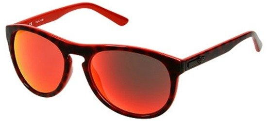 POLICE S1871 6XRR Shiny Havana Brown Orange/ Orange Mirror Lens