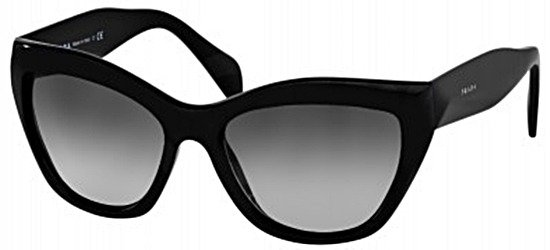 PRADA 02Q 1AB5W1 Shiny Black/ Grey Blue Polarised Lens