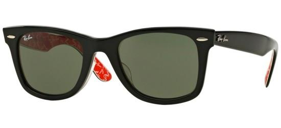 RAY-BAN RB2140F 1016 Shiny Black On Texture Red White/ Green Lens