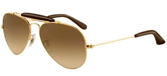 RAY-BAN RB3422Q 001/51 Shiny Gold; Dark Brown Leather/Brown Gradient Lens