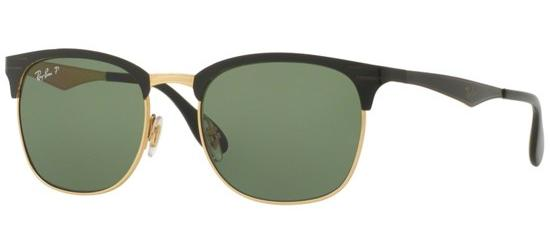 RAY-BAN RB3538 187/9A Shiny Black Gold/Green Polarized