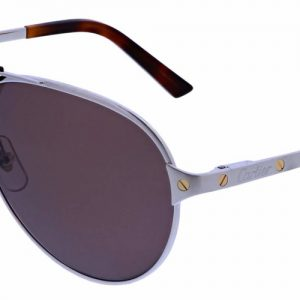 Cartier CT0034S 007 Silver Silver Brown/red