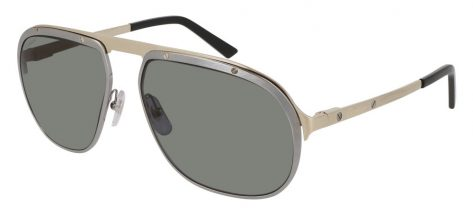 Cartier CT0035S 001 Gun Ruthenium With Gold Temples And Grey Polarized Lenses