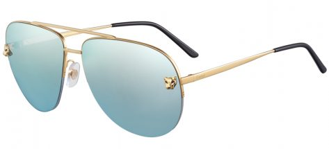 CARTIER ESW00176 GOLD Smooth Gold Finish/Blue Lagoon Mirror