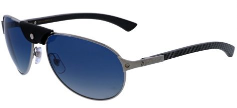 CARTIER ESW00179 SLVR Brushed Ruthenium Finish With Carbon Weave On Wooden Temples And Black Leather/Graduted Blue Polarised Lenses