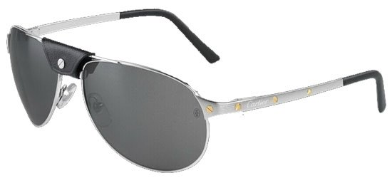 CARTIER T8200572 SILVER Brushed Silver/ Black Calfskin Leather Cover Over The Double-Bridge