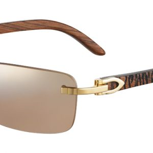 CARTIER T8200728 GOLD Shiny Gold Finish Tiger Engraving Temple/Gold Mirror Shaded Lenses
